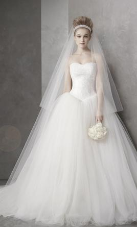Vera Wang White Ball Gown With Chantilly Lace 6