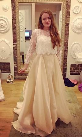 Carol hannah lace bustier with blush mulberry skirt 745 for Carol hannah wedding dresses