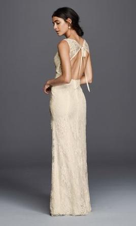 Pin It Davids Bridal Floral Lace Wedding Dress With Tank Sleeve 7KP37 6