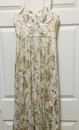 Pin It Other Alice Olivia White And Gold Maxi Dress 4