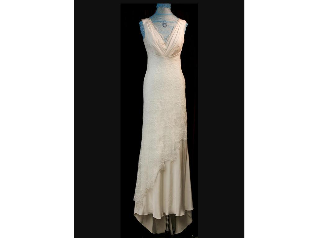David Fielden V-neck crepe gown with chantilly lace, $299 Size: 10 ...