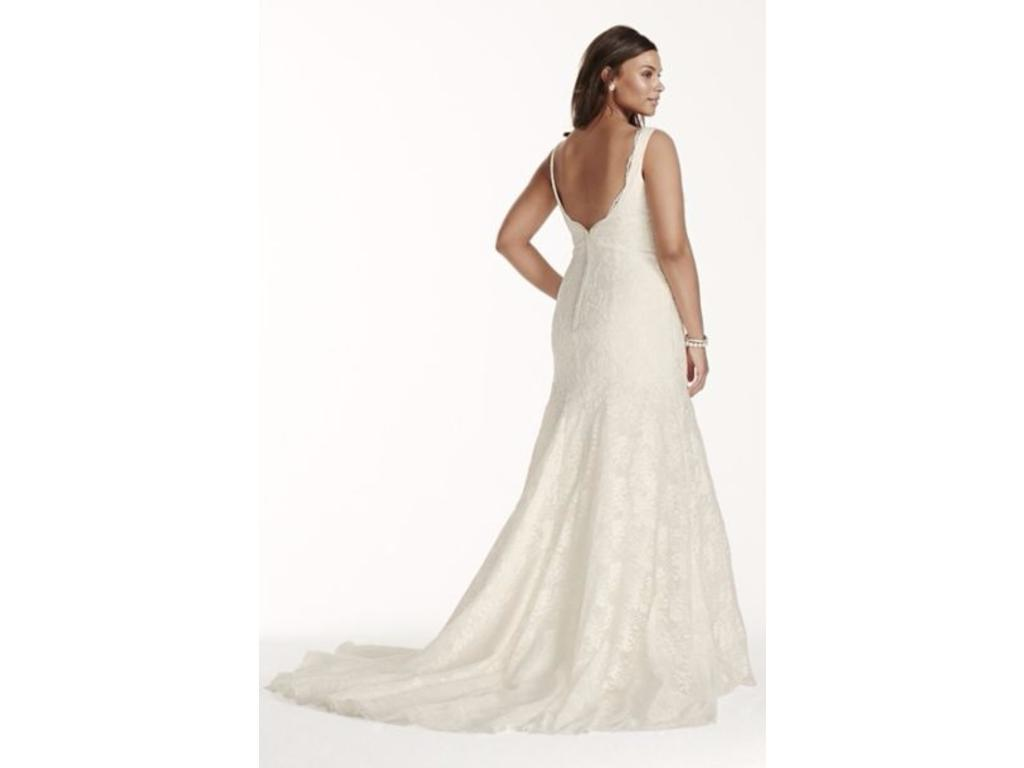 David\'s Bridal Jewel Scalloped Mermaid Plus Size Wedding Dress, $700 ...