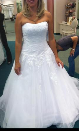 Davids Bridal Strapless Tulle A Line Wedding Dress With Lace 300 Size 10