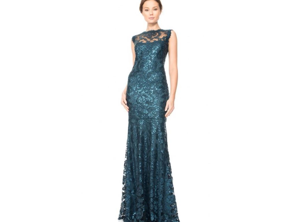 Tadashi Shoji Paillette Embroided Lace Gown, Size: 2   Mother of the ...
