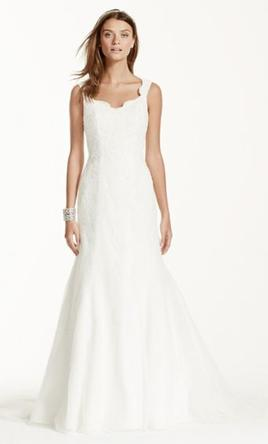 David's Bridal Tank Tulle Trumpet Wedding Dress with Lace Detail 6