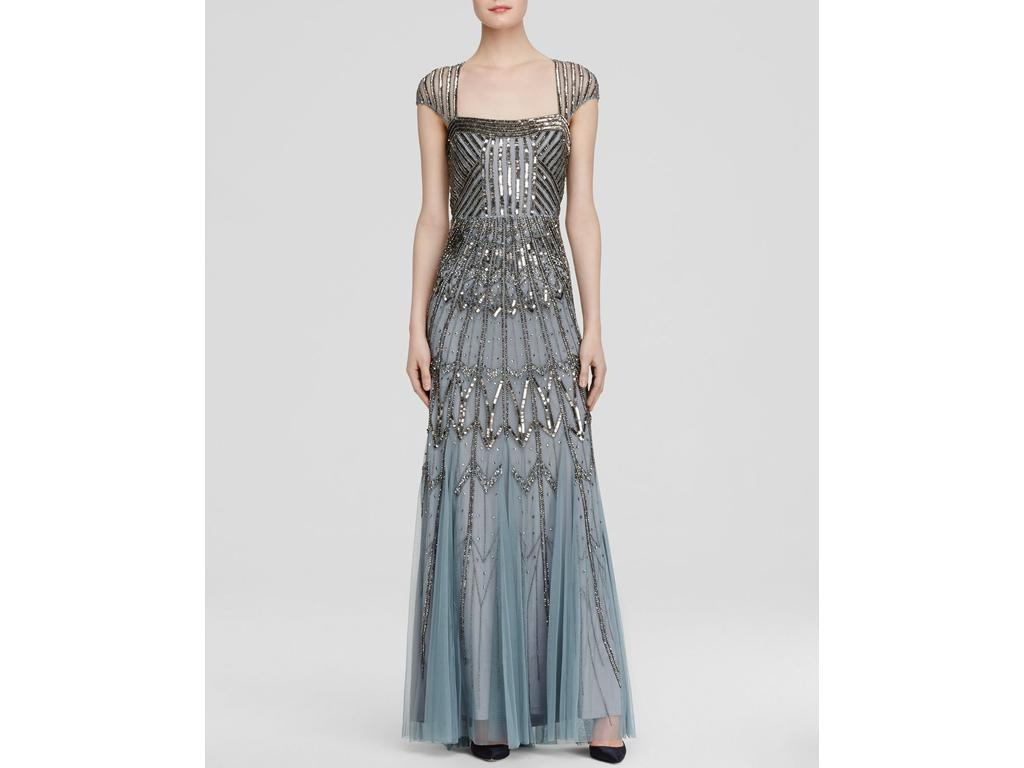 Adrianna Papell Art Deco Cap Sleeve Beaded Gown, Size: 6 ...