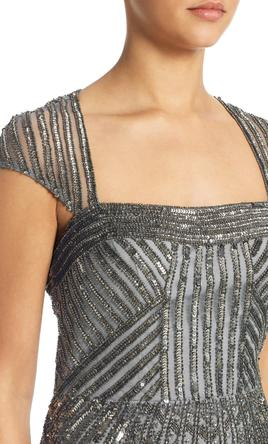 Pin it · Adrianna Papell Art Deco Cap Sleeve Beaded Gown 6
