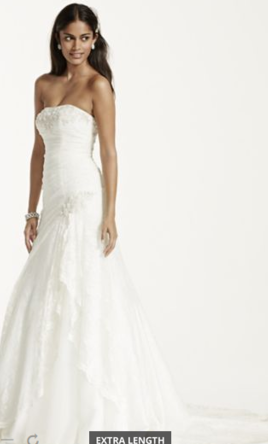 David's Bridal  Lace Wedding Dress with Beading and Side Split  8