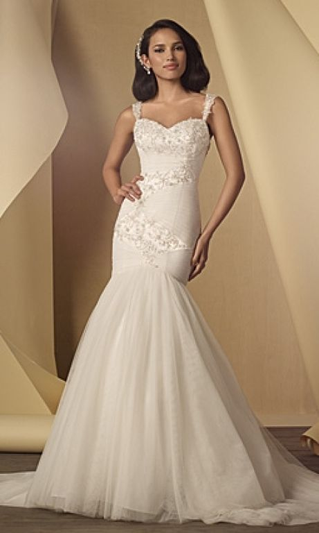 Alfred Angelo Beaded Fit and Flare Wedding Dress Style 2448, $350 ...