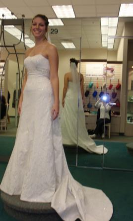 David's Bridal Strapless sweetheart ivory brocade 4