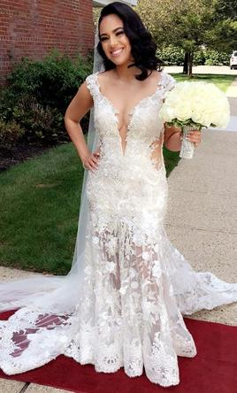 White and Champagne Wedding Dress