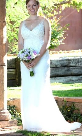 David's Bridal Lace sheath gown with V neckline style 10