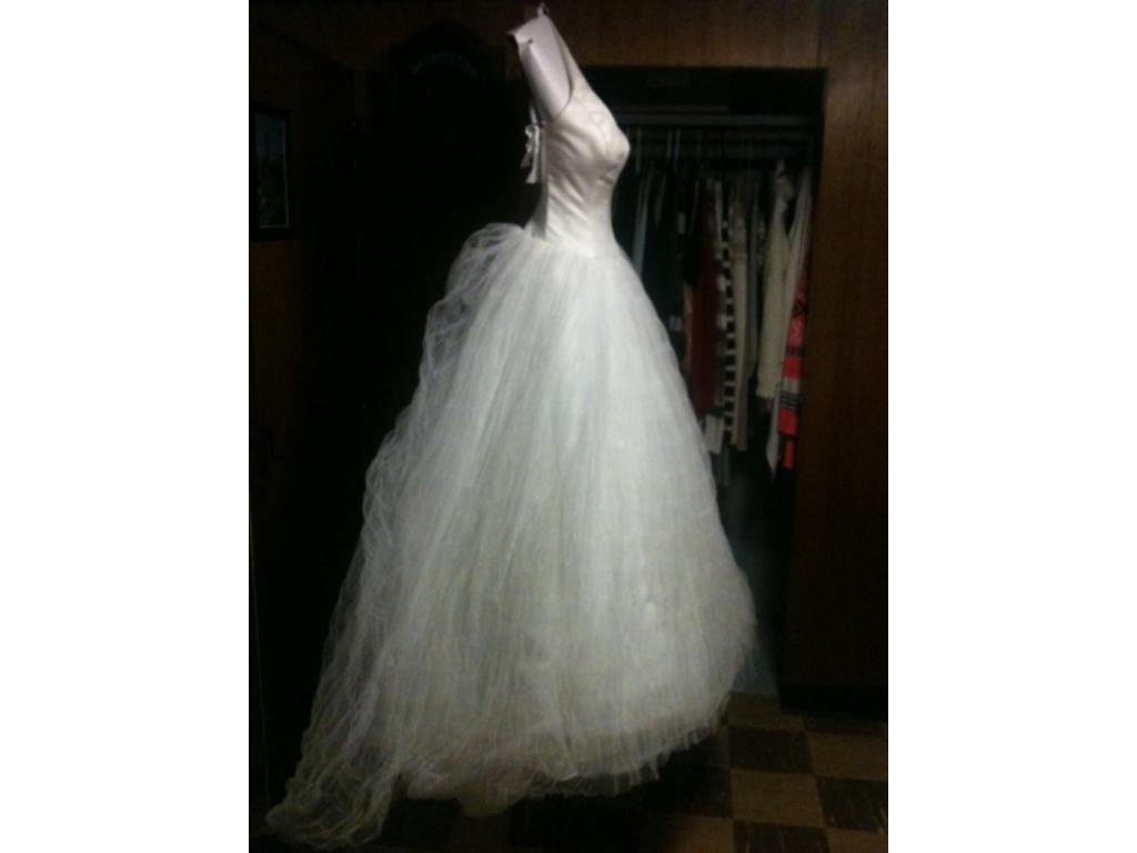 Vera wang white halter tulle wedding dress style vw351303 for Tulle halter wedding dress