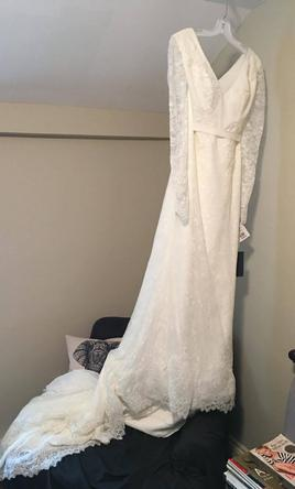 Vera Wang White Long Sleeve 600 Size 8 New Altered Wedding Dresses