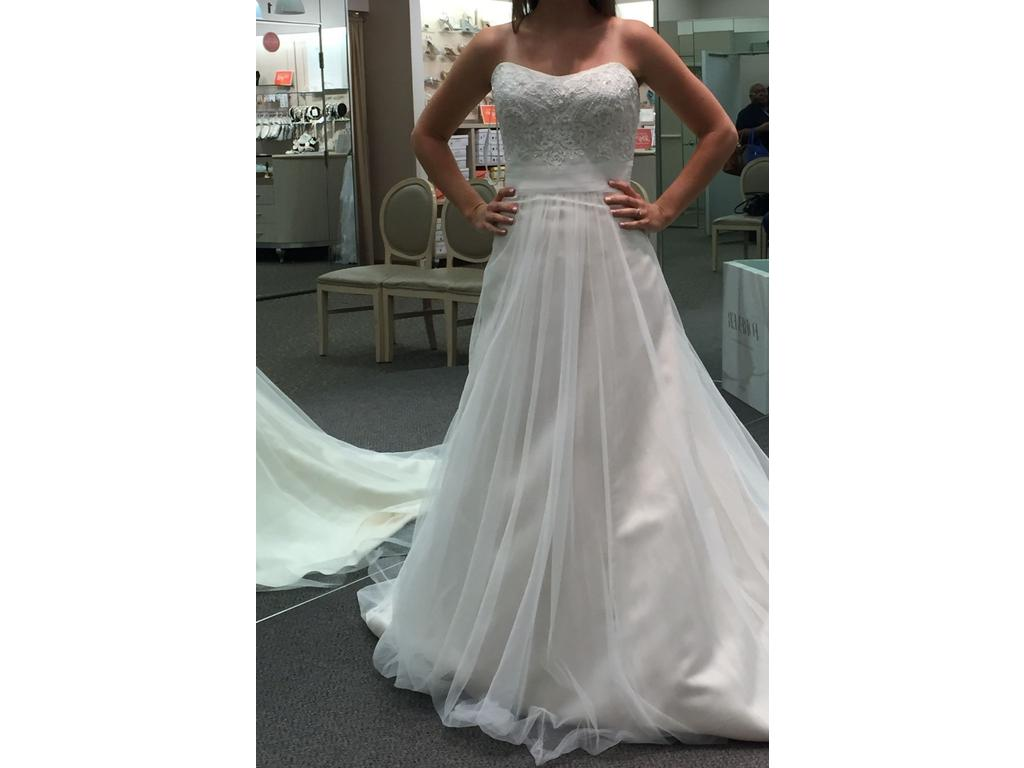 David s Bridal Strapless A Line Beaded Lace Tulle Wedding