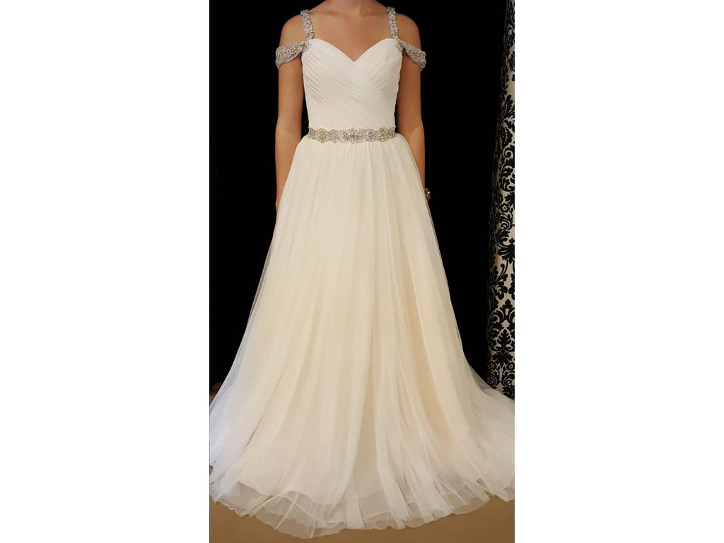 Mori lee 6814 525 size 12 sample wedding dresses for Silver wedding dresses for sale