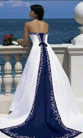 Alfred angelo 1516 300 size 12 used wedding dresses for Wedding dress with blue trim