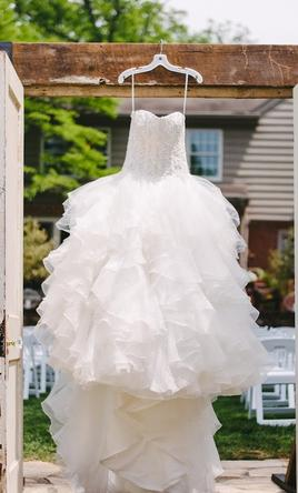 David's Bridal Oleg Cassini Organza Ruffle 8