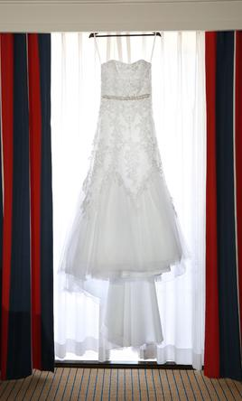 Oleg Cassini Jewel Tulle A-Line Wedding Dress with Lace Detail 6