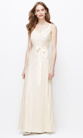 Ann taylor wedding dresses for sale preowned wedding dresses ann taylor natural embellished v neck wedding gown 6 junglespirit Choice Image