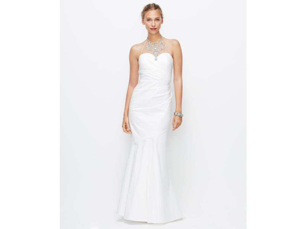 Ann taylor jeweled halter mermaid ruched wedding gown for Jewelry for halter wedding dress