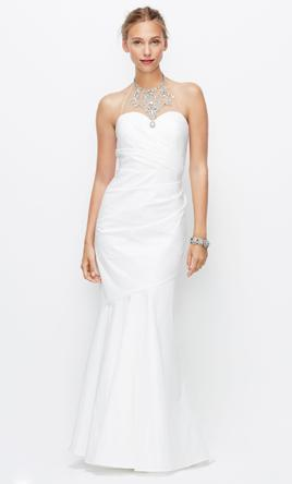 Ann Taylor JEWELED HALTER MERMAID RUCHED WEDDING GOWN