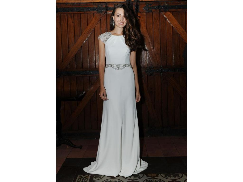 Jenny Packham Cap Sleeved Crepe Sheath Wedding Dress, $790