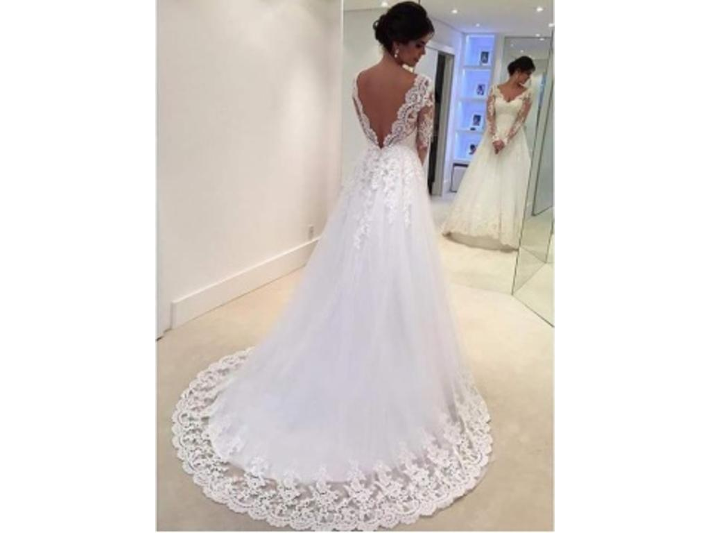 Other V-Neck Backless Long Sleeve Court Lace Dress, $150