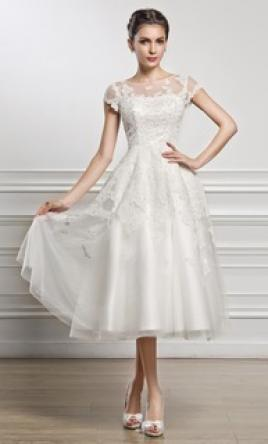 Other A-Line/Princess Scoop Neck Tea-Length Tulle Lace W 26W
