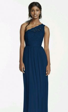 Pin It David S Bridal Long One Shoulder Lace Bridesmaid Dress In Marine 4