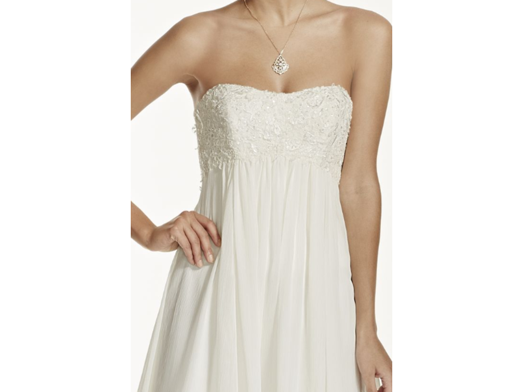 David's Bridal Crinkle Chiffon Gown With Lace Applique