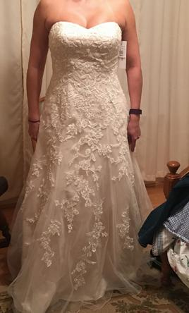 David's Bridal Sweetheart A-Line Tulle and Lace Wedding Dress 12