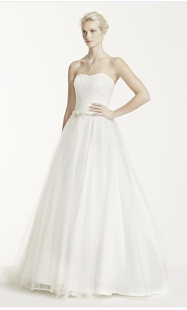 David's Bridal Strapless Ruched Bodice Tulle Wedding Dress 8