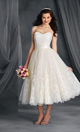 Alfred angelo lace signature bridal dress with tea length skirt alfred angelo lace signature bridal dress with tea length skirt 16w junglespirit Gallery