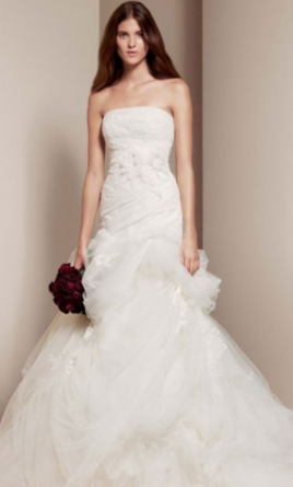 Vera Wang White Strapless Tulle and Organza Fit and Flare VW35116 4