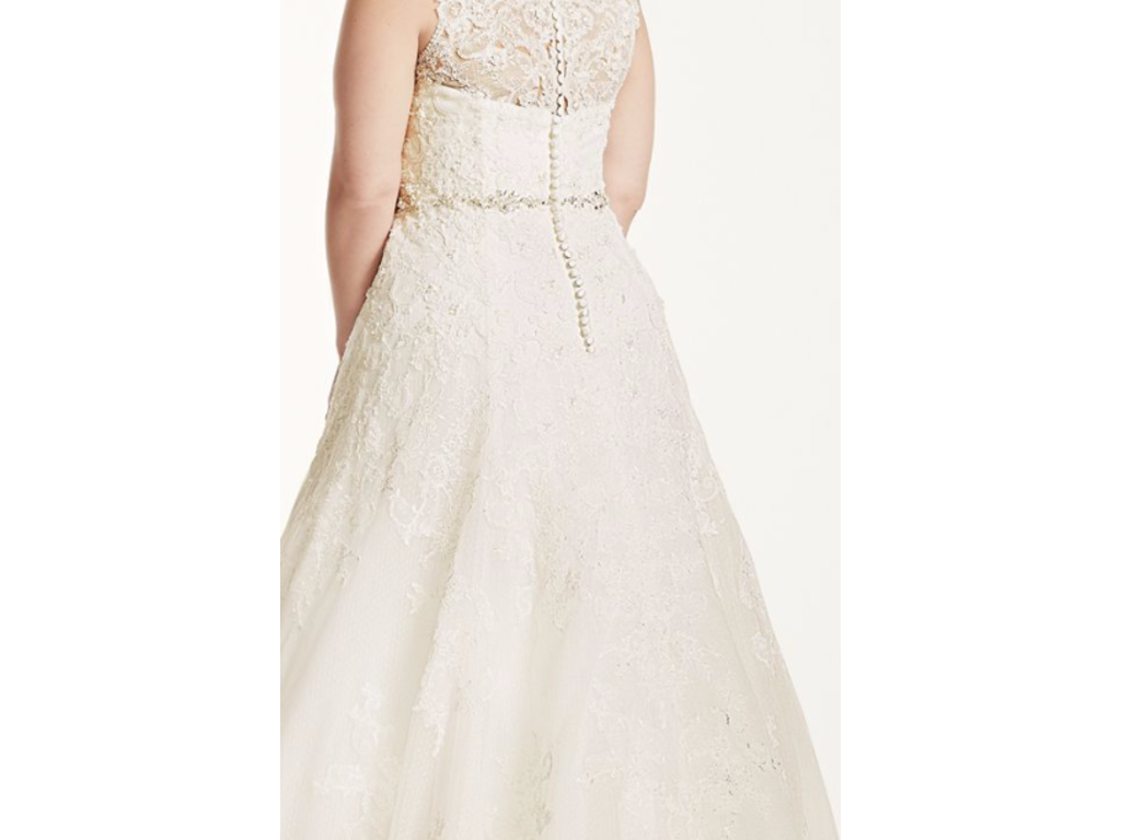 Oleg Cassini A Line Wedding Dress With Beaded Lace 8cwg672 625 Size 16w New Un Altered