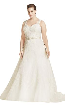 Oleg Cassini A Line Wedding Dress with Beaded Lace/8CWG672 16W