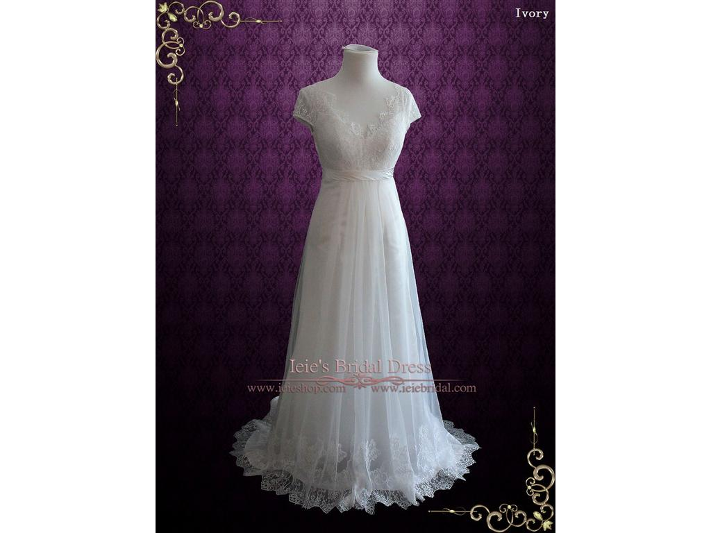 Other Vintage Style Lace Wedding Dress with Cap Sleeves