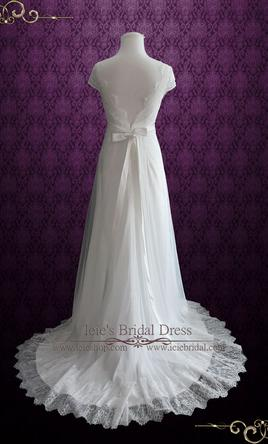 Other Vintage Style Lace Wedding Dress With Cap Sleeves 4