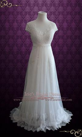 Other Vintage Style Lace Wedding Dress with Cap Sleeves, $400 Size ...
