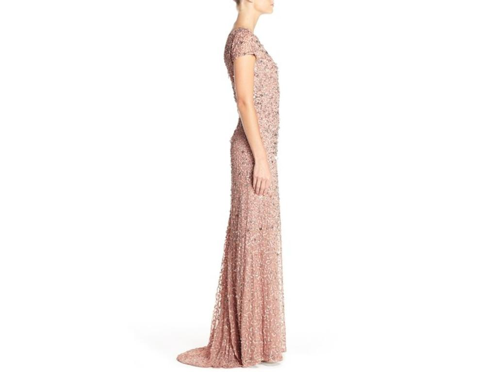 Adrianna Papell Short Sleeve Sequin Gown, Size: 4   Bridesmaid Dresses