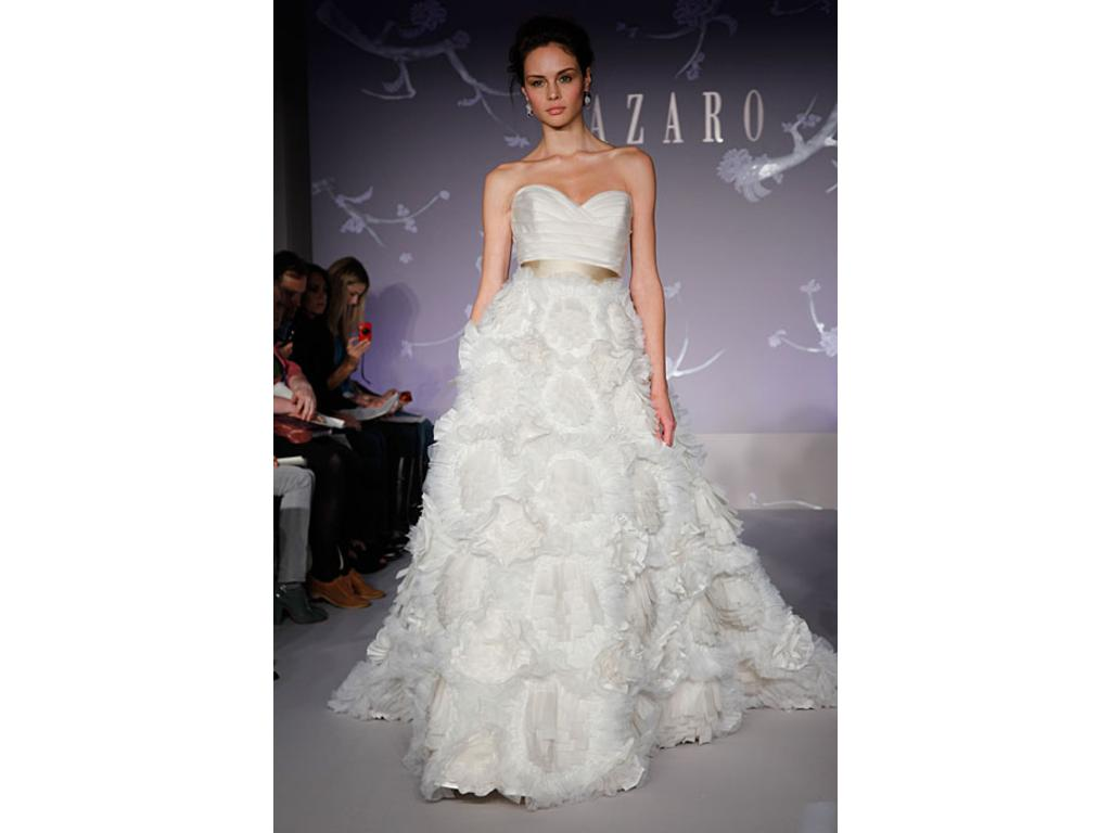 Lazaro Strapless Lace Wedding Dress $1 750 Size 2