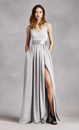 c2b940b1e399 Pin it · Vera Wang White V Neck Halter Gown with Sash - Style: VW360214 6