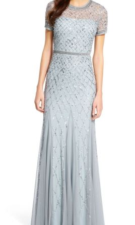 768b4655258 Pin it · Adrianna Papell cap sleeve beaded gown