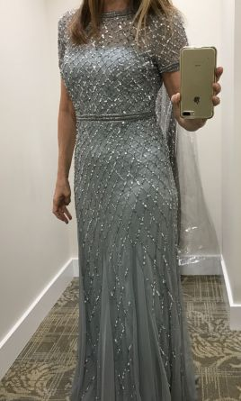 f9aa82dce53c Adrianna Papell cap sleeve beaded gown, blue mist Mother of the ...