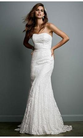 Galina Strapless Lace Dress with Ribbon Detail, $499 Size: 6 ...