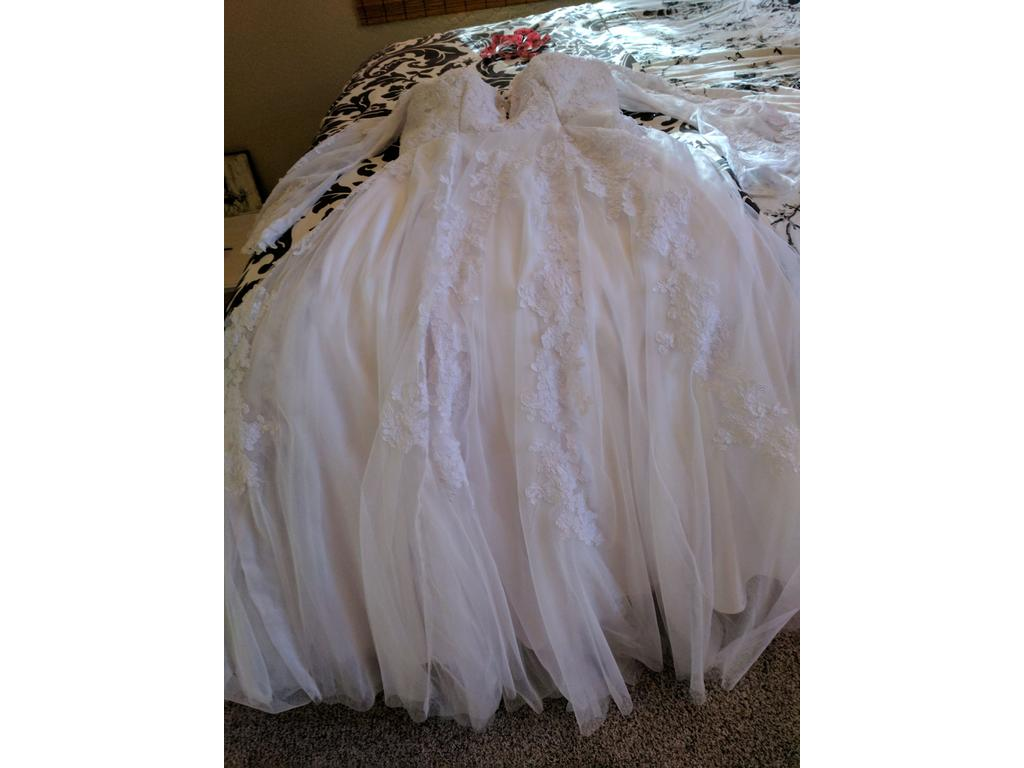Other handmade chiffon tulle lace wedding gown 495 size for Chiffon tulle wedding dress
