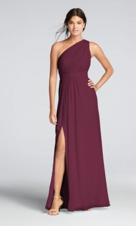 David's Bridal  Long One-Shoulder Crinkle Chiffon, Style: F18055 8