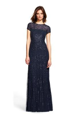Adrianna Papell Short Sleeve Fully Beaded Gown 16