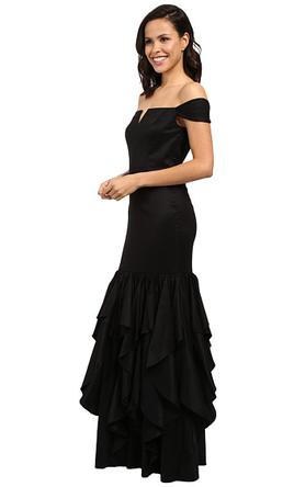 Adrianna Papell Black Ruffled Off Shoulder Mermaid Dress 12